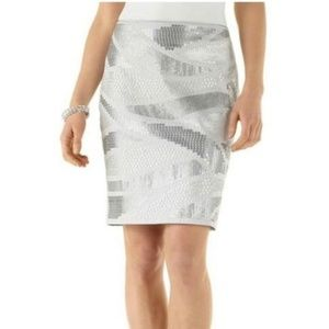 NWOT WHBM Grey Sequined Pattered Pencil Skirt